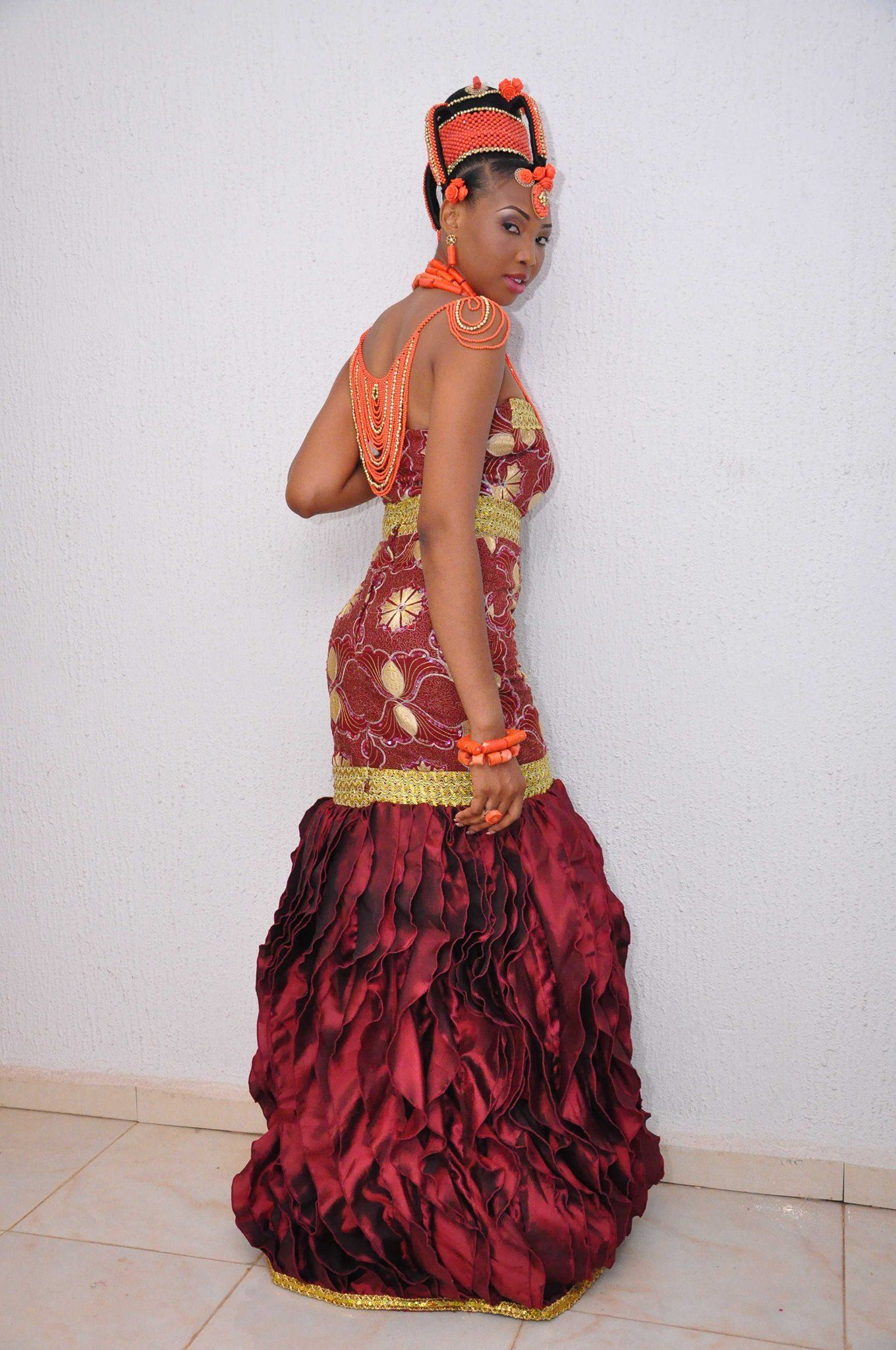 My gorgeous cousin amaka in her traditional wedding attire for Nigerian traditional wedding dresses