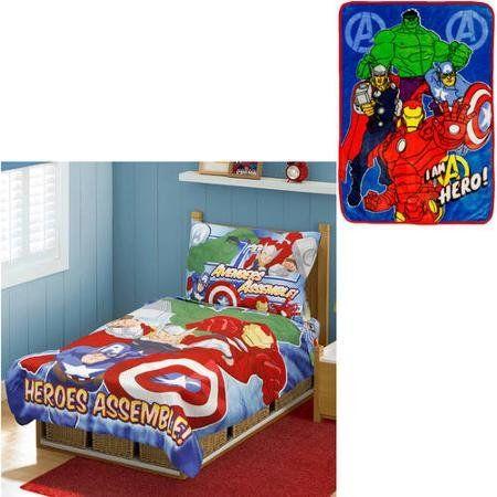 Cool Bonus Blanket With Marvel Avengers 4pc Toddler Bedding Set