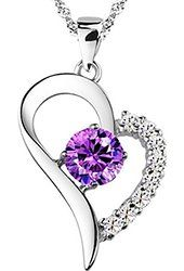 You Are the Only One in My Heart [Purple] Sterling Silver Pendant Necklace $69.00 Prime Pearl of Dream