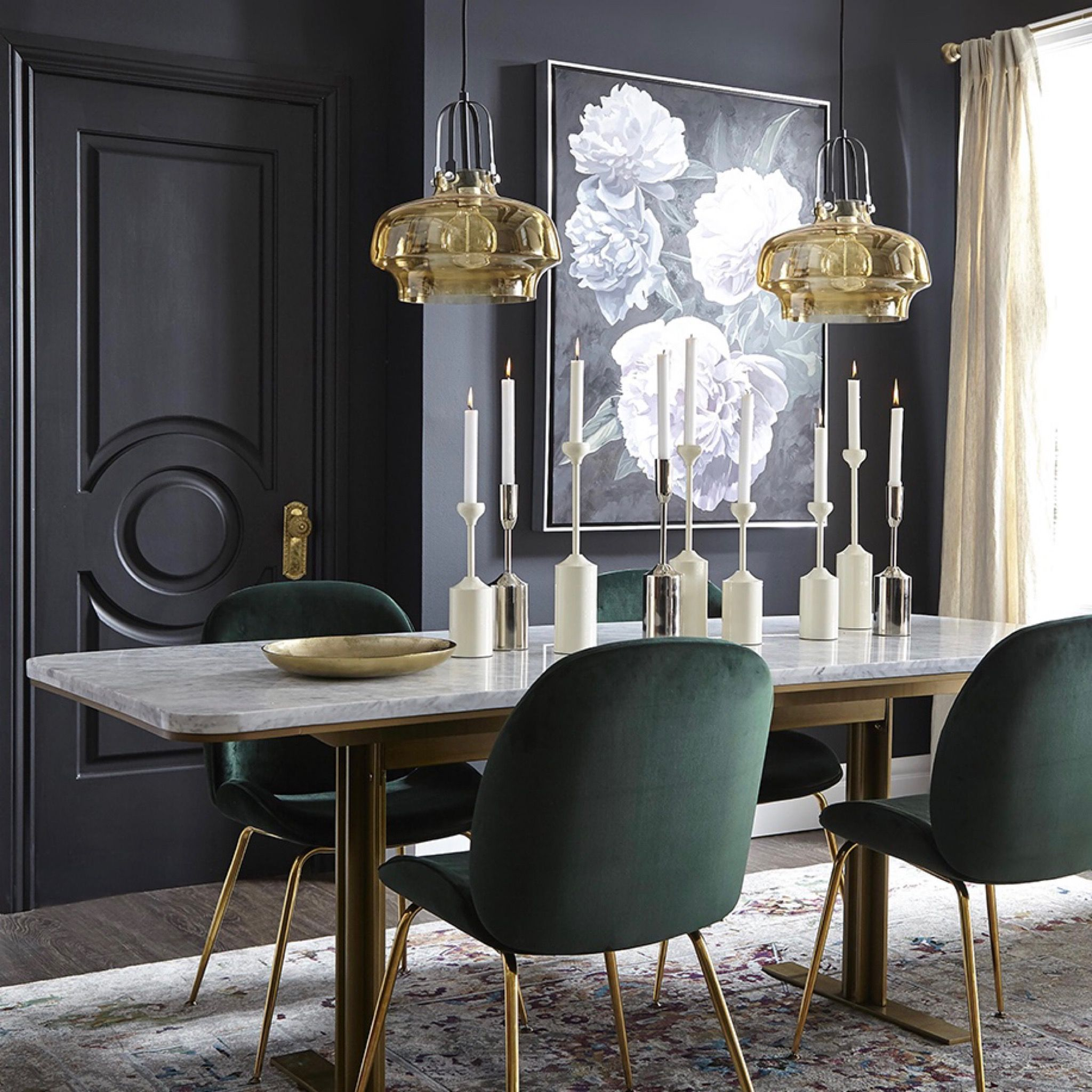 Green Velvet Dining Chairs Marble Table Dark Walls Dining Room