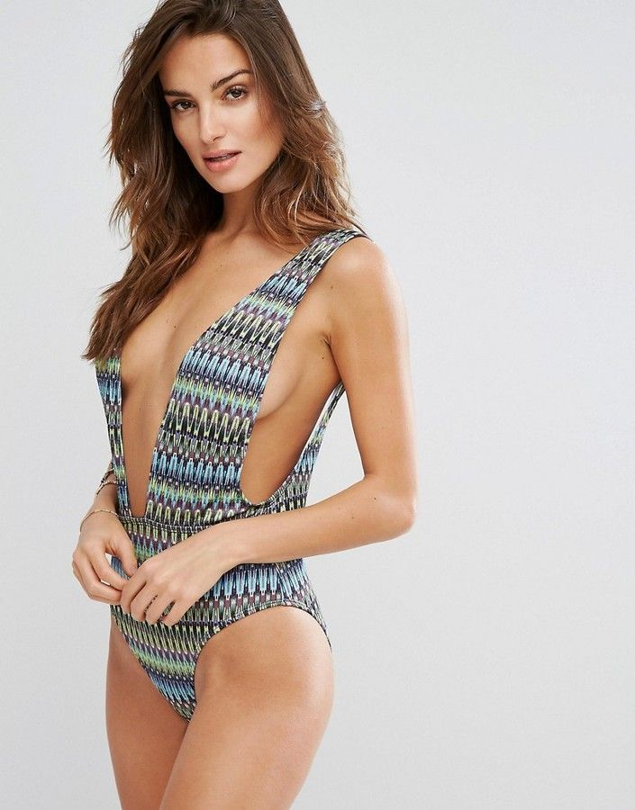 cea950acc1 Boohoo Zig Zag Jacquard Drop Side Swimsuit | Summer | Swimsuits ...