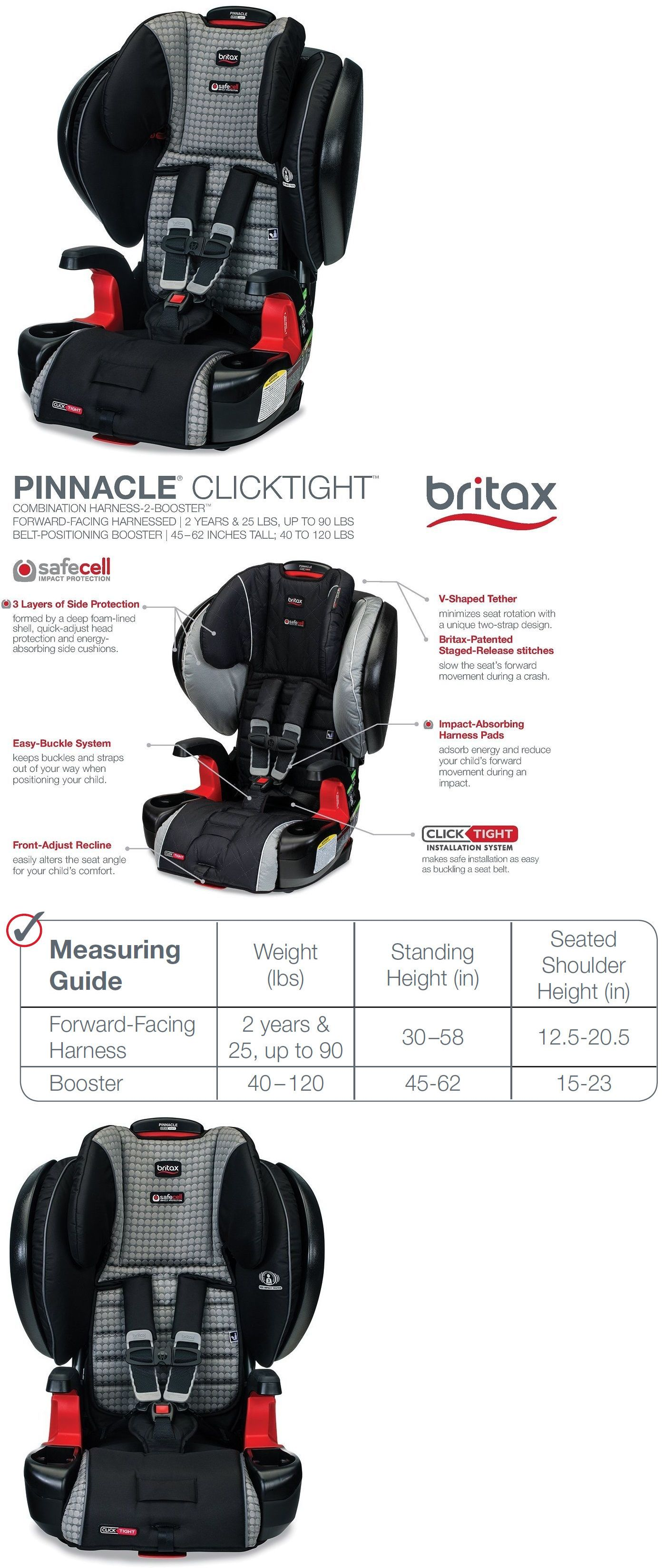 Other Car Safety Seats 2987 Britax Pinnacle Clicktight Combination Harness 2 Booster Seat 2017 Venti BUY IT NOW ONLY 312 On EBay