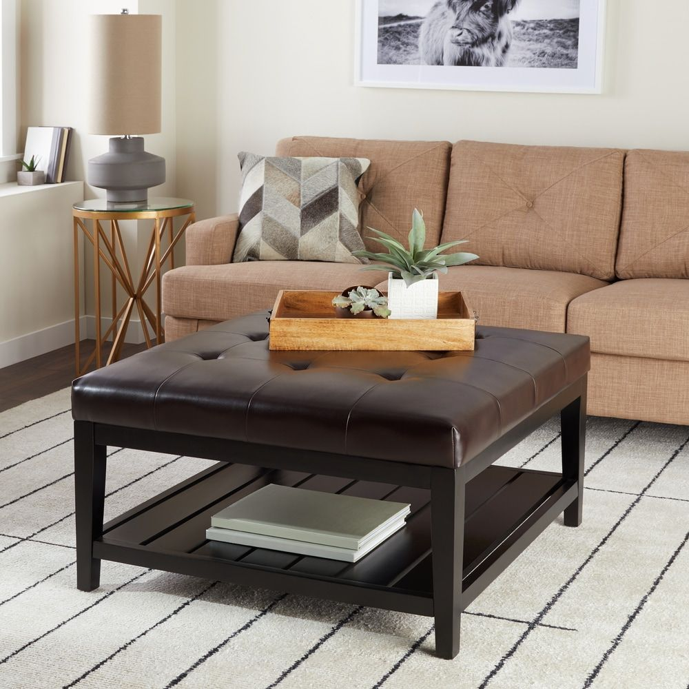 Abbyson manchester brown bonded leather square coffee