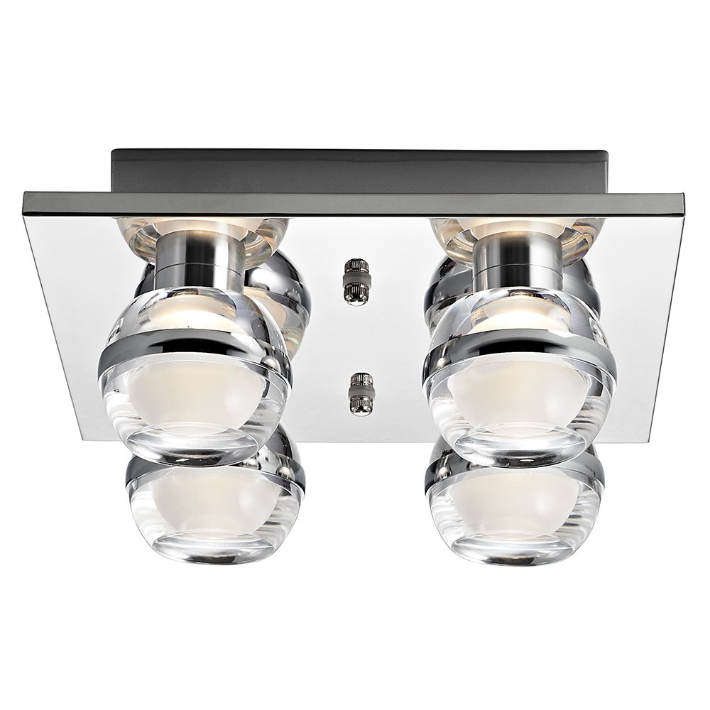 Light fittings for bathrooms - Led Bathroom Ceiling Light Fitting With Modern Double Glass Shades
