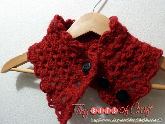 Poppy red neckwarmer, red collar, red scarflette, cowl scarf, knit collar fashion in hairpin lace crochet