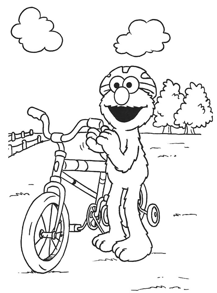 Elmo Playing Bicycle Coloring Page Coloring Pages School Age