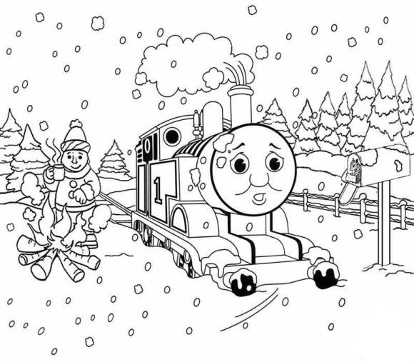 Thomas The Train Winter Coloring Pages For Kids - Christmas ...