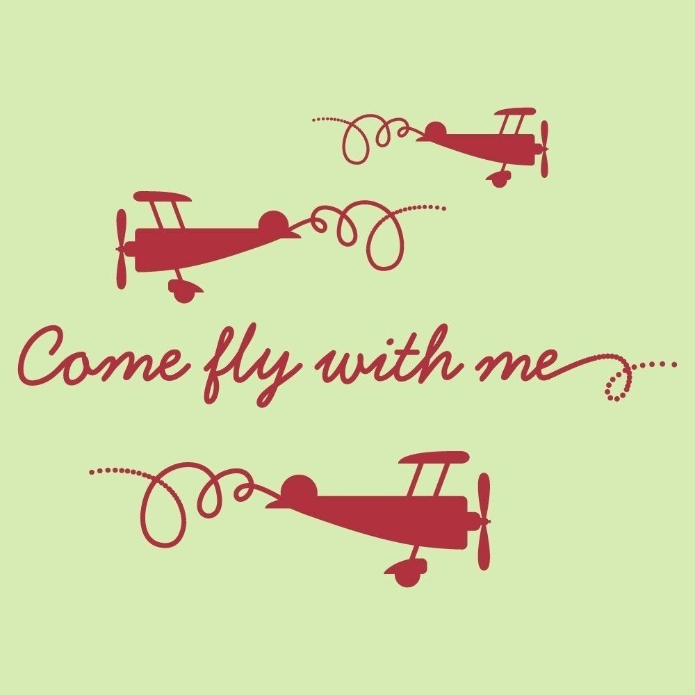 Airplane Decals Come Fly With Me Wall Stickers Baby Nursery Children ...
