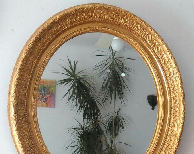 Miroir ancien ovale doré à la feuille d\'or, cadre style barbizon ...
