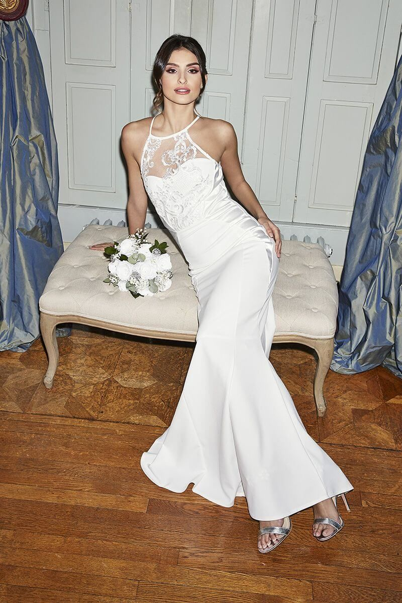 Quiz Penelope White Embellished Crepe High Neck Maxi Dress