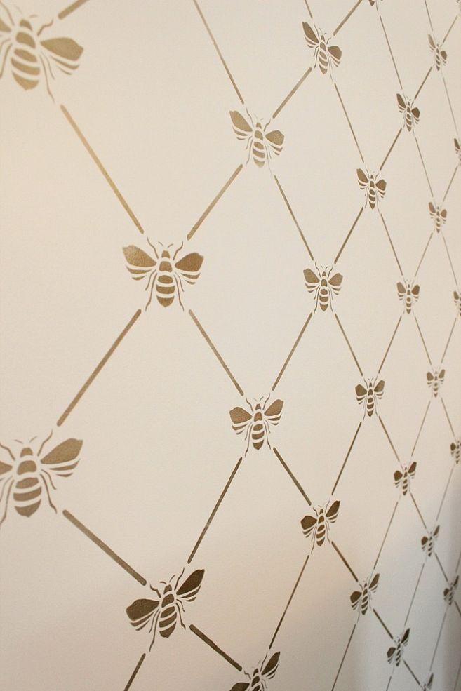 BEEutiful Stencilled Wall Bee stencil, Bee, Bee nursery