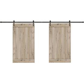 Creative Entryways Biparting Weathered Gray Stained 1 Panel Wood