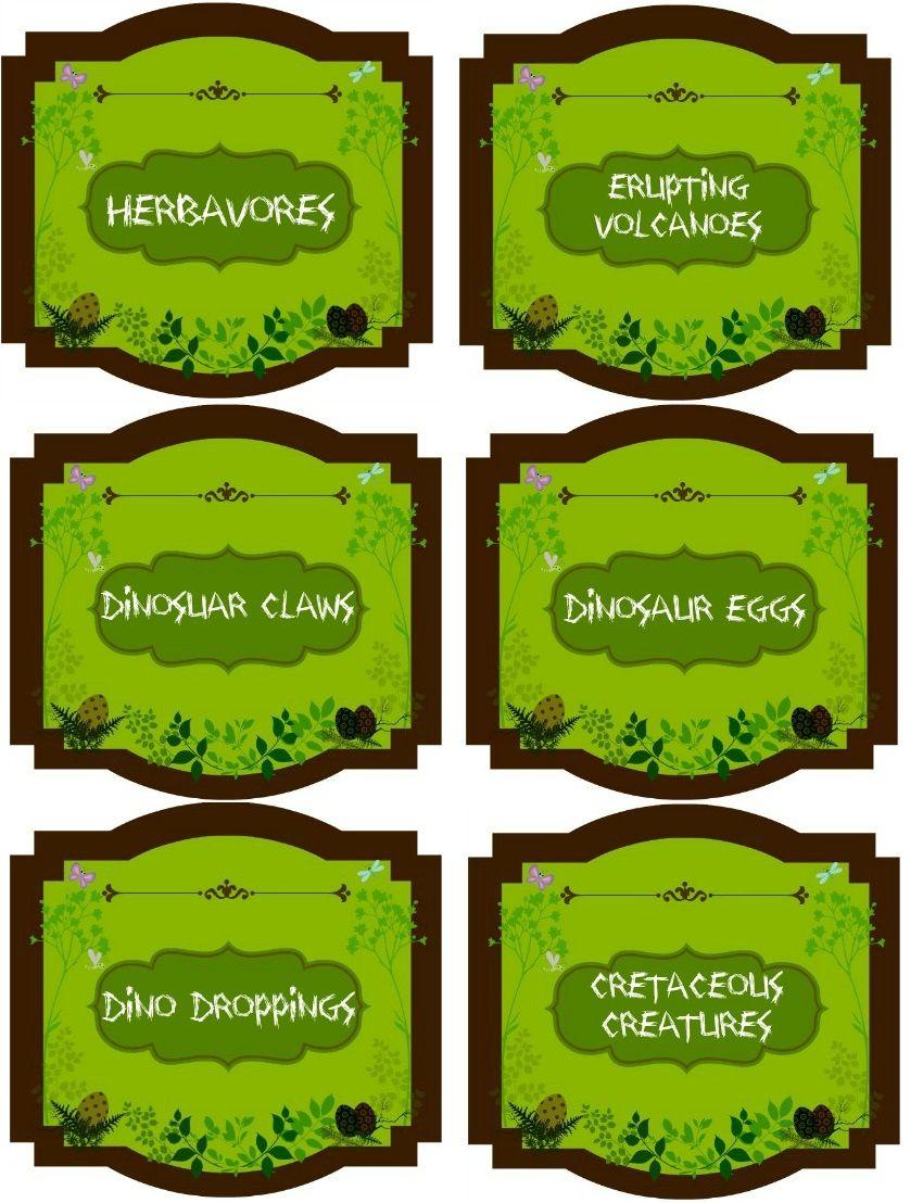 Dinosaur party labels (veggie platter, lava cake, Bugles, deviled ...
