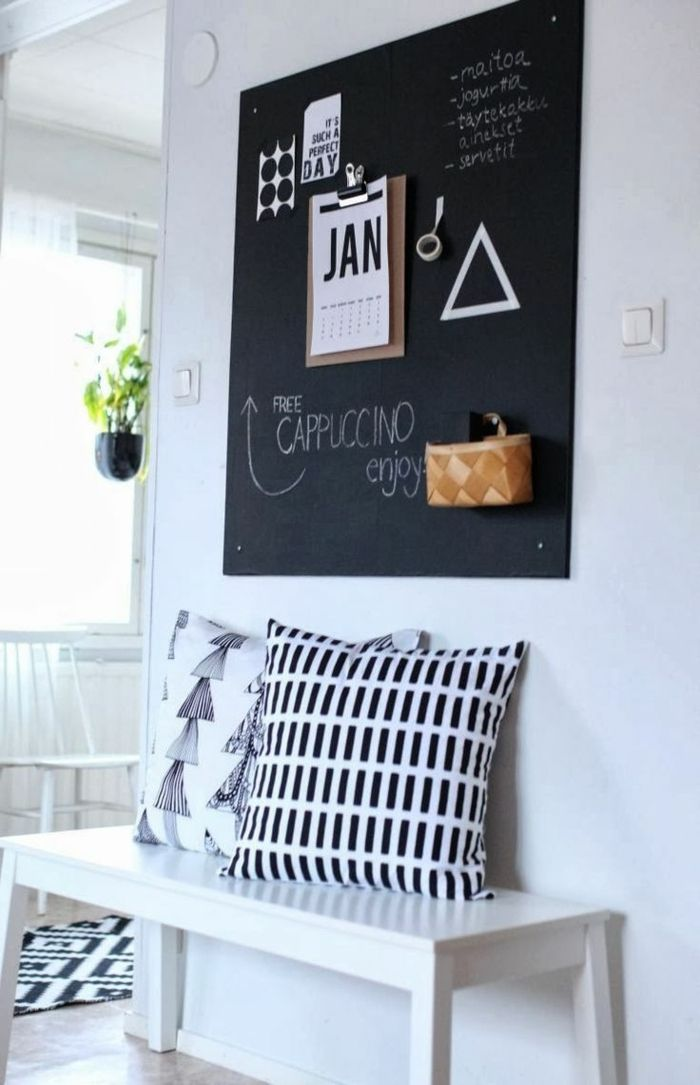 68 id es cr atives avec l 39 ardoise murale ardoise magn tique tableau craie et. Black Bedroom Furniture Sets. Home Design Ideas