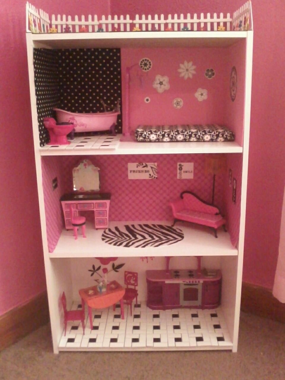 Barbie House Made Out Of A Bookshelf I Made For My Daughter For