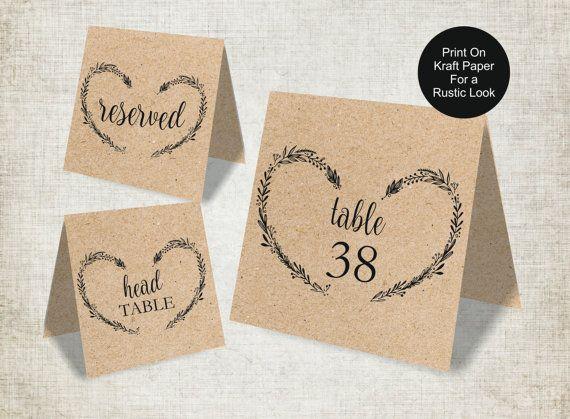 Wedding Table Numbers Template Vintage Heart Wreath by BSNPartyArt ...