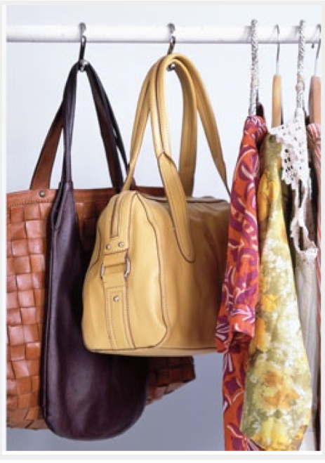 Marvelous Great Idea For My Bags! From RealSimple: Shower Curtain Hooks As Handbag  Storage Place Hooks On A Closet Bar And Hang Purse Handles From Them To  Keep Your ...