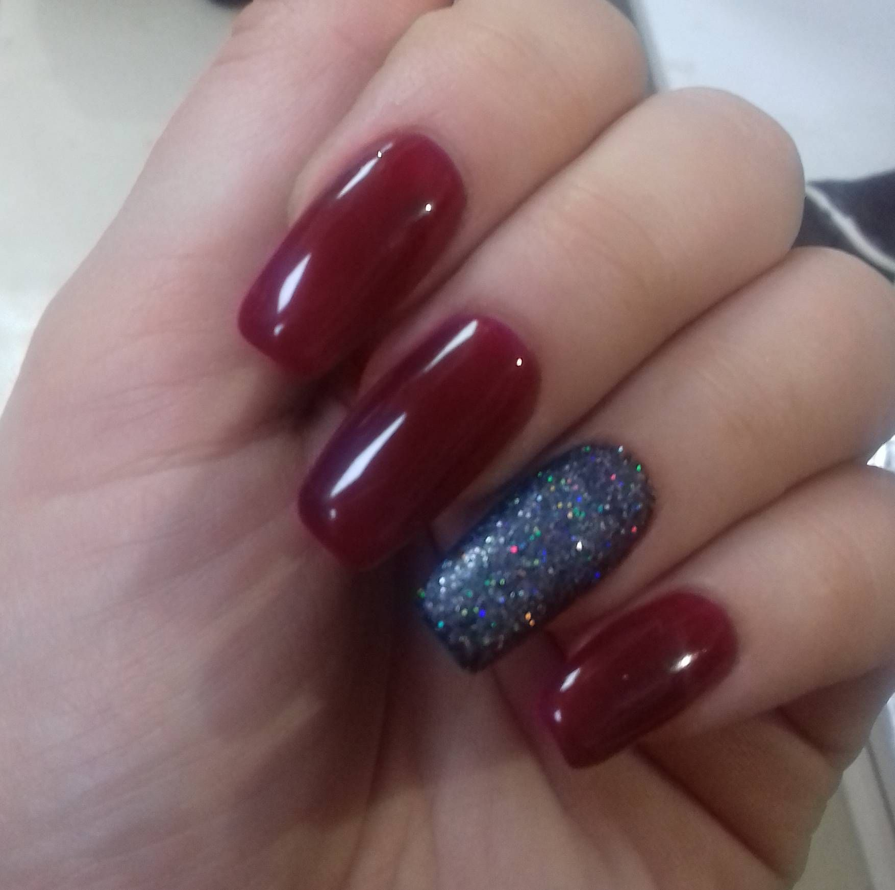 Burgundy manicure and silver rubbing maroon nails