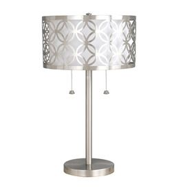 allen   roth Earling 25-in Brushed Nickel Indoor Table Lamp with Fabric Shade