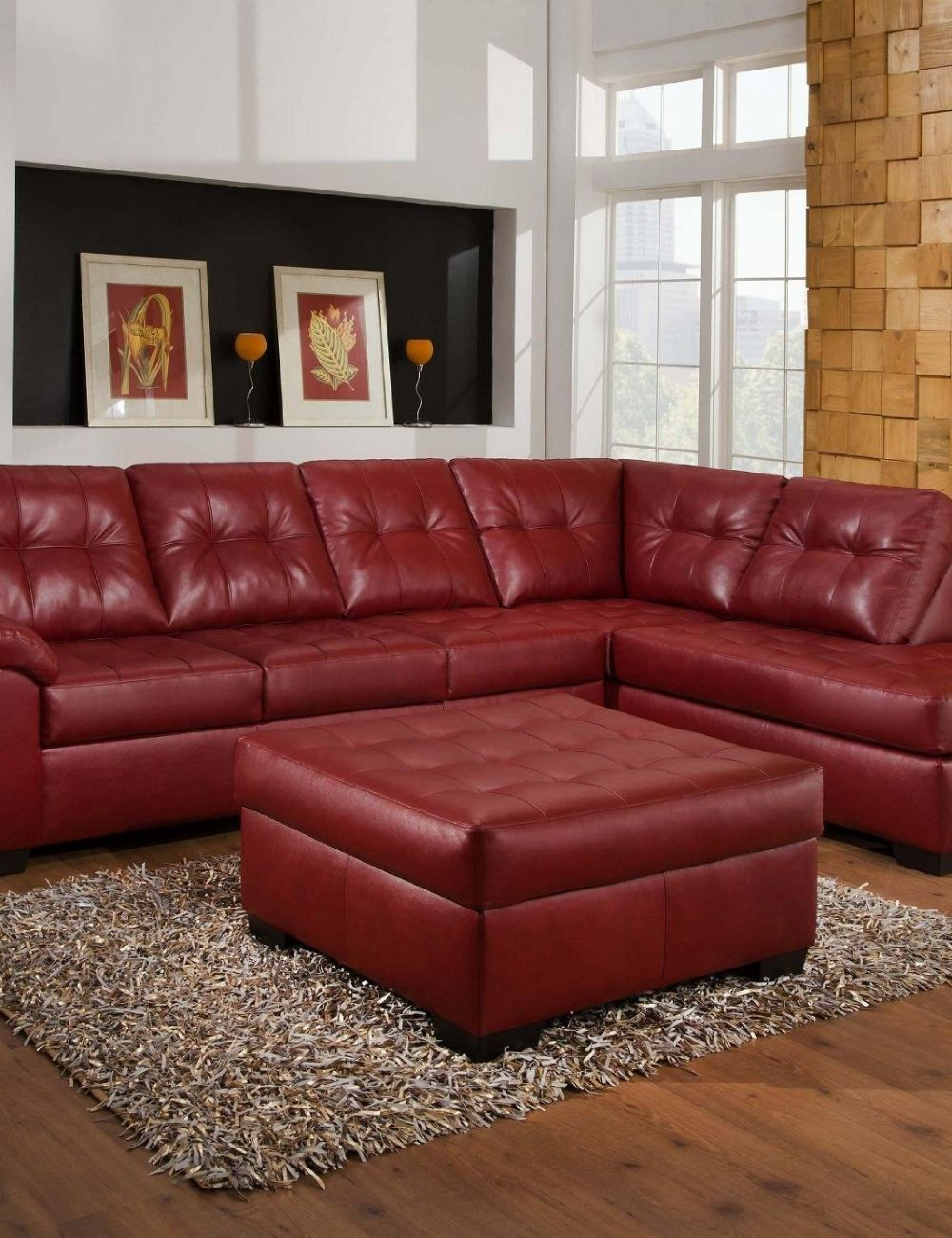 Red Leather Sectional Sofa With Ottoman Houston Apartment