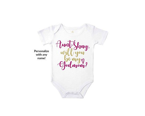 baby vest Will you be my Godmother Personalised with name bodysuit