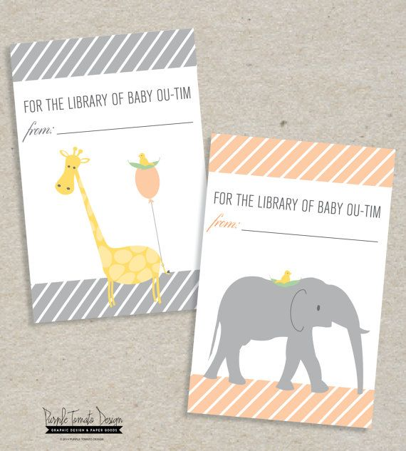 Printable Baby Shower Book Label or Sticker. Baby book ...