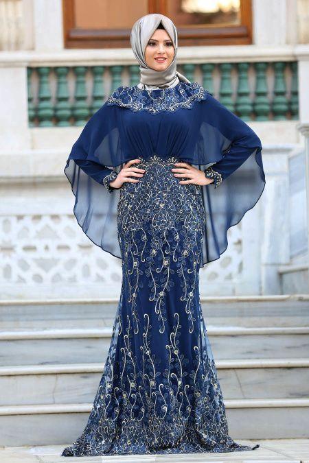 Tesetturlu Abiye Elbise Pelerinli Lacivert Tesettur Abiye Elbise 4417l Tesetturisland Com Moda Stilleri Elbise The Dress