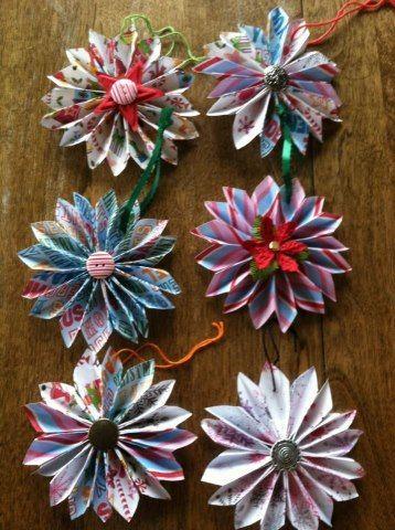 Origami christmas ornaments paper ornaments with buttons flower origami christmas ornaments paper ornaments with buttons flower ornaments mightylinksfo