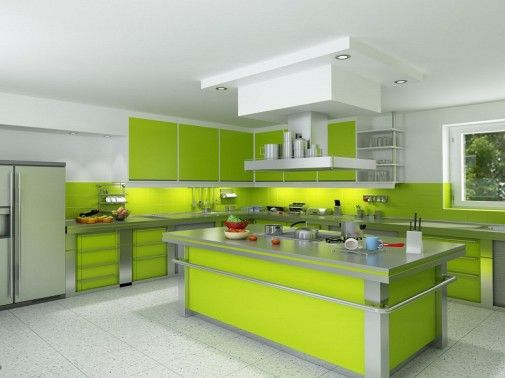 Kitchen Paint Color Ideas With White Cabinets Modern Green And Center Island Also