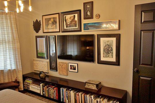 hanging art around flatscreen tv. it disappears ... on