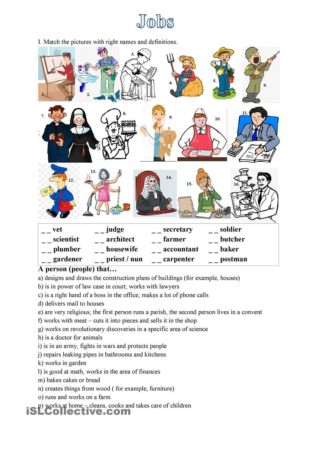 Jobs - exercise (matching picture with name and description) | ESL ...