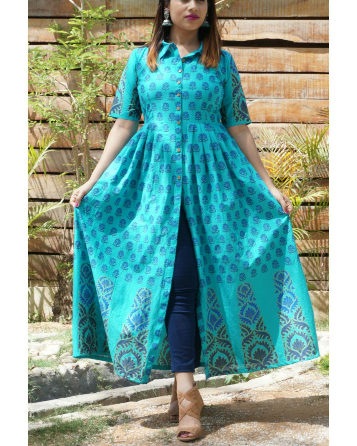 b3ae59887b The Secret Label Teal Cotton Printed Slit Kurti | Women's Kurti in ...
