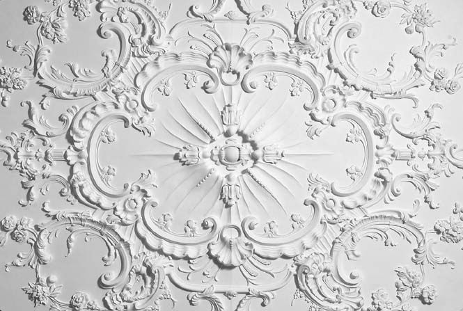 Rococo ceiling in cast plaster