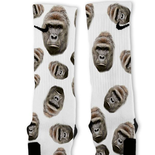 8daec648a9600 Harambe Gorilla Custom Nike Elite Socks | Cool socks | Nike elite ...