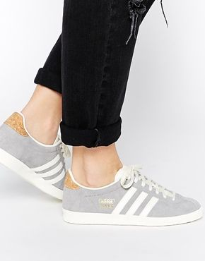 Adidas Originals Gazelle OG Solid Grey Trainers - cork and gold foil  detailing are prime