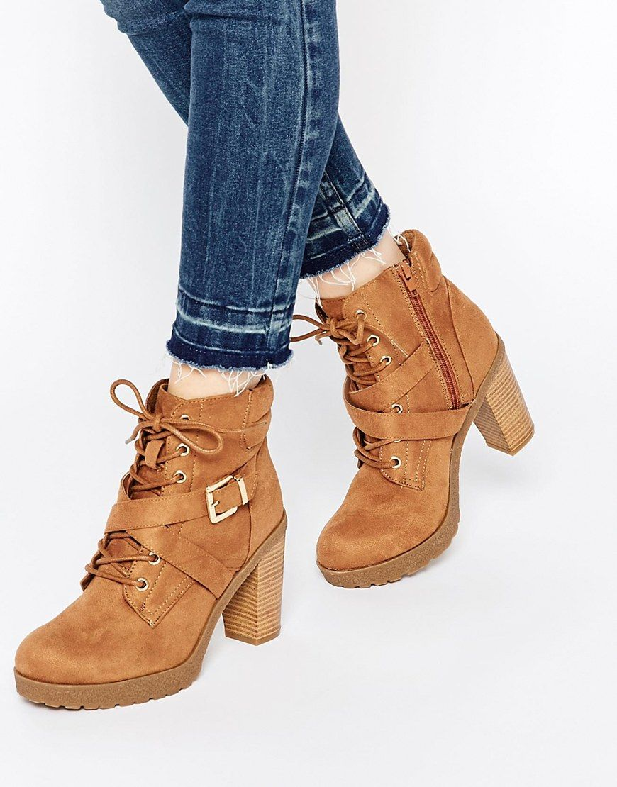 Buy Women Shoes / New Look Lace Up Heeled Work Boots