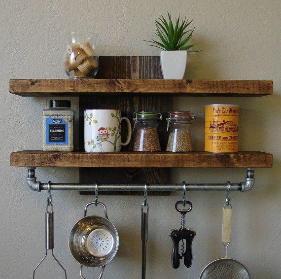 Handmade Spice Rack Shelf With Pot Rack Slight Offset For