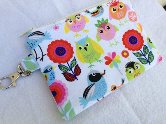 Bright Birds & Owls Small Zippered Pouch by pogtotes on Etsy, $8.95