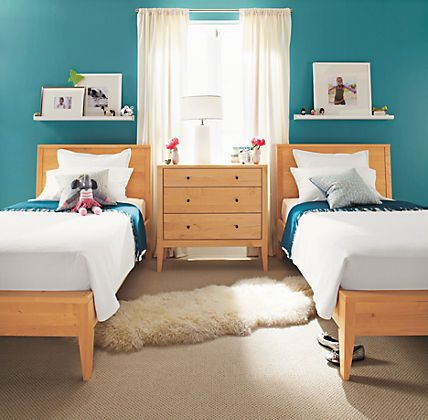 Twin Beds Side By Near Window Dresser Or Bookshelf To