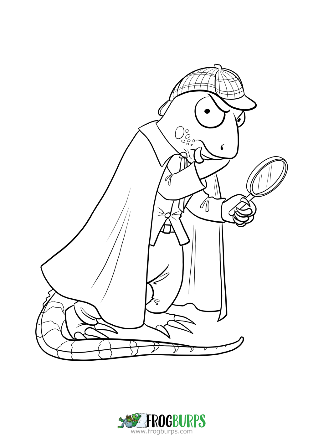 Igor the investigating Iguana | Coloring Page | Frogburps Coloring ...