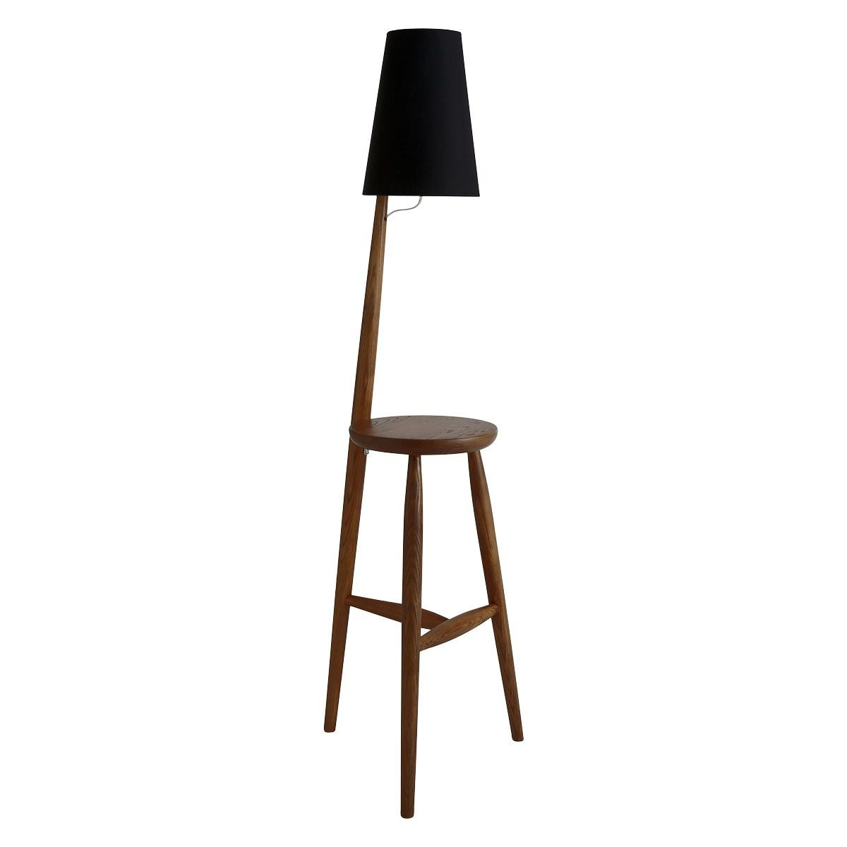 Wallace Walnut Floor Lamp And Table With Black Shade Buy Now At Habitat Uk Black Floor Lamp Floor Lamp Walnut Floors