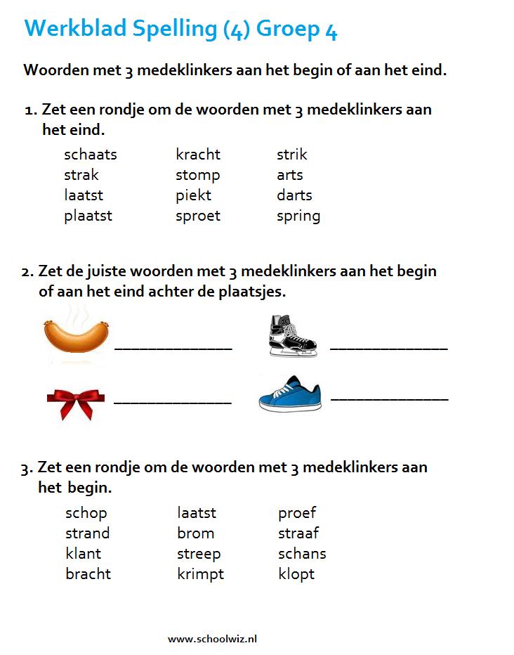 Verwonderlijk Schoolwiz - Taaloefeningen groep 4 | Spellingsoefening, Taal XD-35