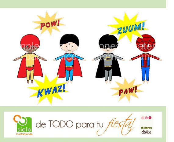 Super heroes 8 CLIPART PRINTABLES Avengers & Superman, Batman, Spiderman and Superboy inspired designs. $2.50