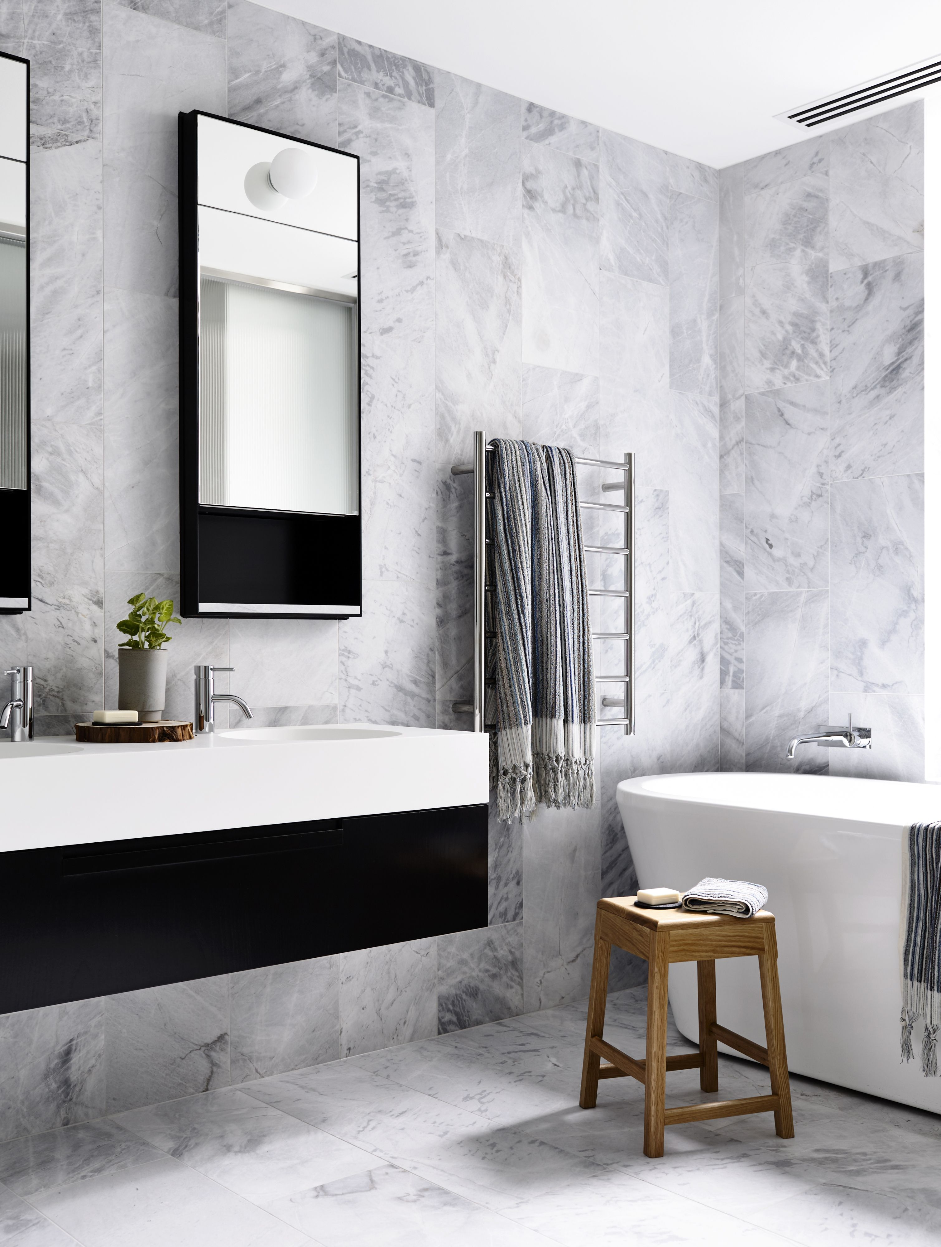 Brookville Apartment White Bathroom Decor Gray And White