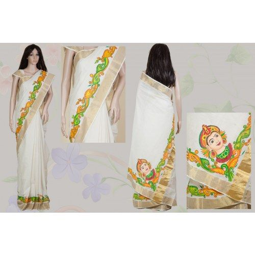 Mural painted kerala saree sarees pinterest kerala for Buy kerala mural paintings online