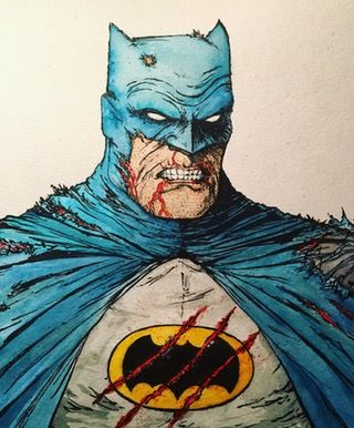 The Dark Knight Returns. Pen, ink and watercolor. What do you guys think? : comicbooks