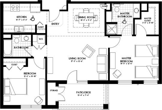 Image Result For Luxury 2 Bedroom Apartment Plans Two Bedroom House 2 Bedroom Apartment Floor Plan Luxury Floor Plans