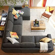 Urban 4 Piece Chaise Sectional Sectional Sofa Layout, Grey Sectional Sofa,  West Elm