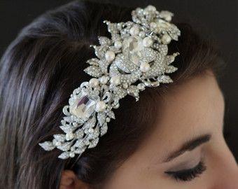 Bridal Headband Hair Accessories Wedding Head Band Swarovski Tiara Pearl