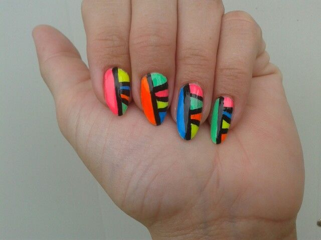 Long natural nails crazy bright colors neon | My nails | Pinterest ...